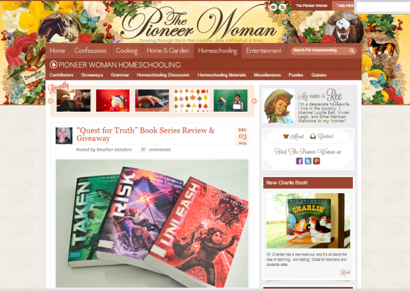 Pioneer Woman review of The Quest for Truth - 12-3-2013